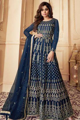 Heavy Designer Navy Blue Party Wear Aanarkali Suit