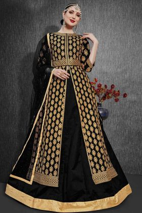 Heavy Designer Black Indo Weastern Heavy Silk Suit