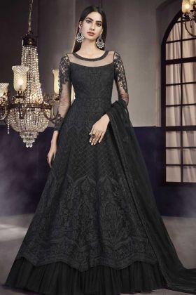Heavy Designer Black Indo Western Suit For Wedding