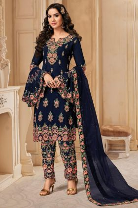Heavy Designer Blooming Georgette Navy Blue Pakistani Salwar Dress