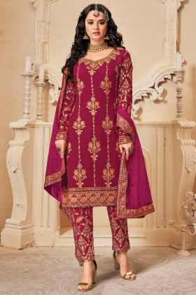 Heavy Designer Bluming Georgette Dark Pink Party Wear Suit
