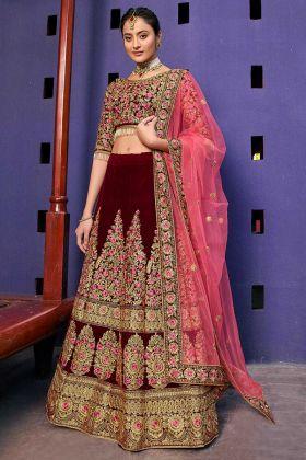Heavy Designer Bridal Velvet 9000 Lehenga Choli In Maroon
