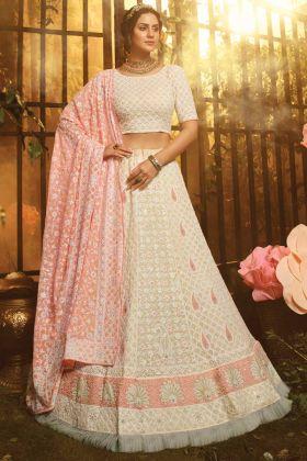 Heavy Designer Bridal Wear White Lehenga Choli