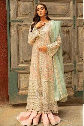 Heavy Designer Butterfly Net Peach Pakistani Style Suit