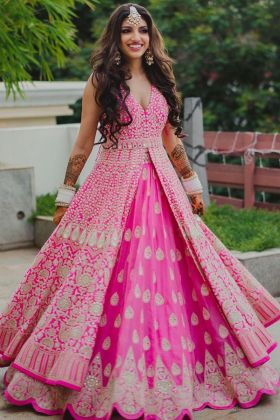 Heavy Designer Embroidered Pink Colored Tafeta Indo Western Salwar Suit For Reception