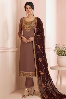 Heavy Designer Embroidered Salwar Suit With Coffee Dupatta