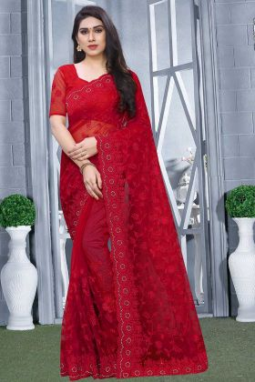 Heavy Designer Embroidered Saree In Red Color