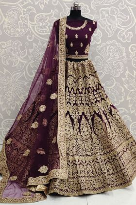 Heavy Designer Embroidered Soft Net Purple Bridal Lehenga Choli
