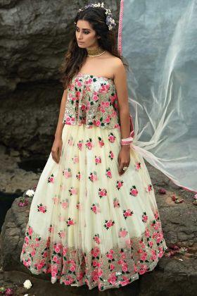 Heavy Designer Embroidery Work Off White Color Lehenga Choli Online