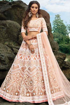Heavy Designer Embroidery Work Peach Color Lehenga Choli Online