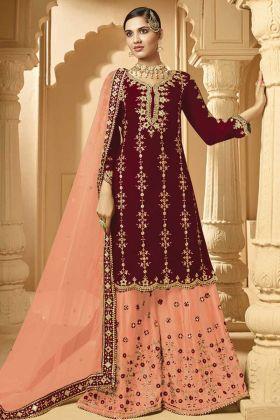 Heavy Designer Georgette Maroon Plazzo Suit With Net Dupatta