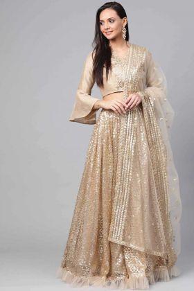 Heavy Designer Gold Party Wear Net Lehenga Choli