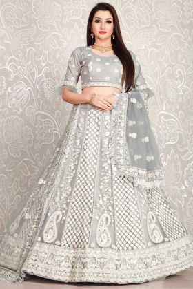 Heavy Designer Grey Color Bridal Wear Lehenga Choli