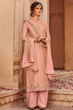 Heavy Designer Jacquard Silk Plazo Suit Design Dusty Pink