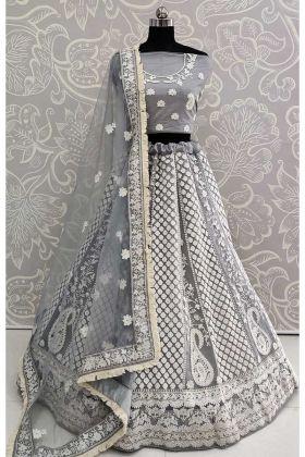 Heavy Designer Lehenga Choli Grey With Heavy Embroidered Blouse