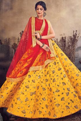 Heavy Designer Musturd Yellow Art Silk Lehenga Choli