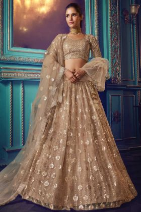 Heavy Designer Net Lehenga Choli For Bridal In Beige Color