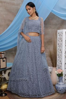 Heavy Designer Party Wear Grey Color Net Lehenga Choli