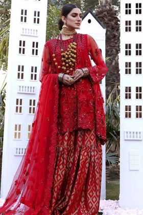 Heavy Designer Party Wear Red Color Sharara Suit