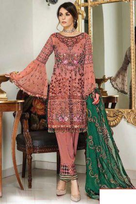 Heavy Designer Peach Color Faux Georgette Pakistani Style Suit