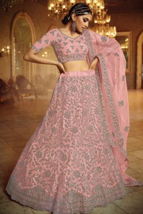 Heavy Designer Pink Lehenga Choli Having Soft Net With Dori And Zarkan Work