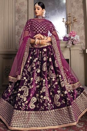Heavy Designer Purple Color Velvet Lehenga Choli