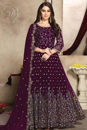 Heavy Designer Purple Party Wear Georgette Anarkali Suit