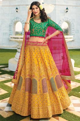 Heavy Designer Raw Silk Musturd Color Bridal Wear Lehenga