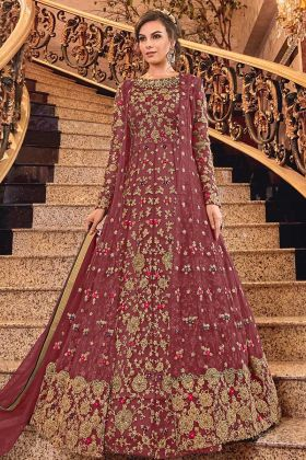 Heavy Designer Salwar Suit In Two Looks With Maroon Color