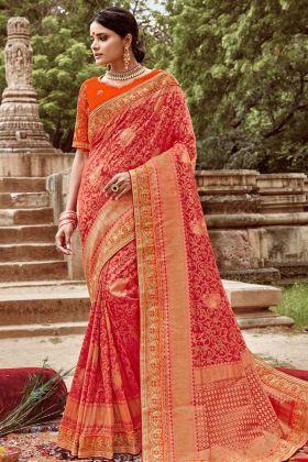 Heavy Designer Saree Jacquard Silk Red Color