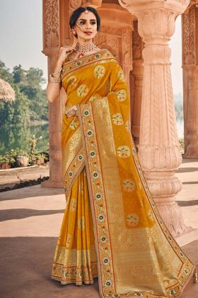 Heavy Designer Saree Mustard Yellow With Plain And Embroidered Blouse