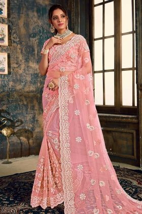 Heavy Designer Saree Net With Pink Blouse