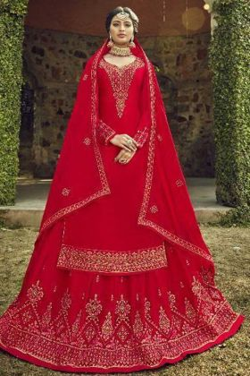 Heavy Designer Satin Georgette Red Color Salwar Suit For Wedding
