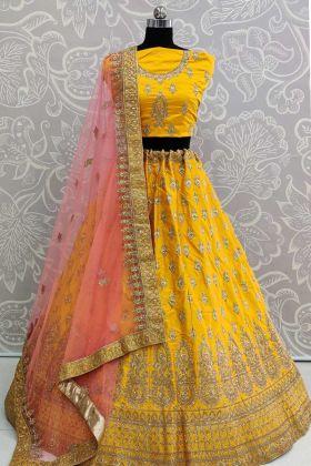 Heavy Designer Satin Silk Wedding Lehenga Choli In Yellow