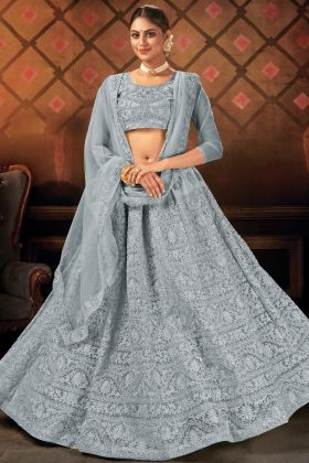 Heavy Designer Soft Net Embroidered Grey Lehenga Choli