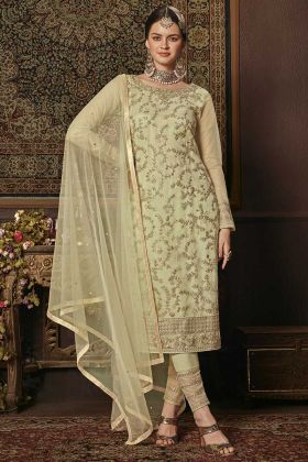 Heavy Designer Straight Suit Pastel Green With Net Dupatta
