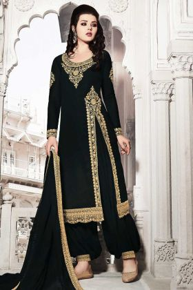 Heavy Designer Suit Georgette In Black Color