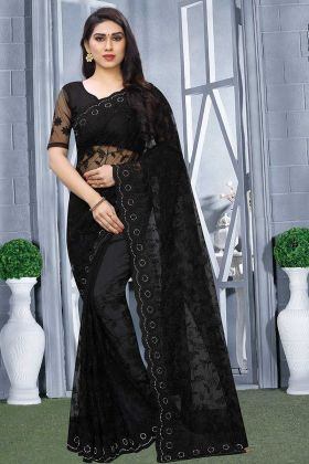 Heavy Designer Tone To Tone Embroidered Saree In Black Color