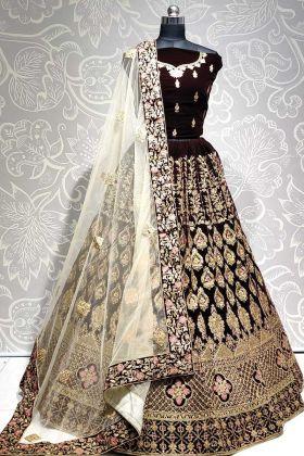 Heavy Designer Velvet Brown Color Bridal Wear Lehenga Choli
