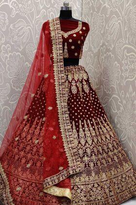 Heavy Designer Velvet Lehenga Choli In Maroon Color