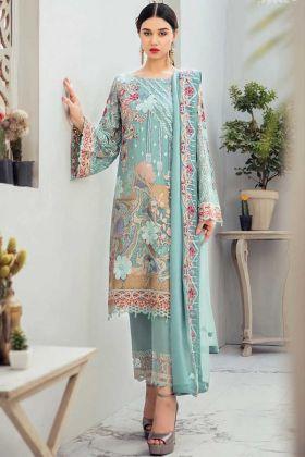 Heavy Designet Latest Pakistani Style Sea Green Salwar Suit