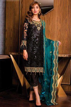 Heavy Embroidered Black Pakistani Salwar Kameez