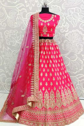 Heavy Embroidered Blouse With Satin Silk Lehenga Choli