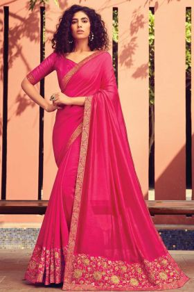 Heavy Embroidered Chanderi Silk Traditional Saree In Pink Color