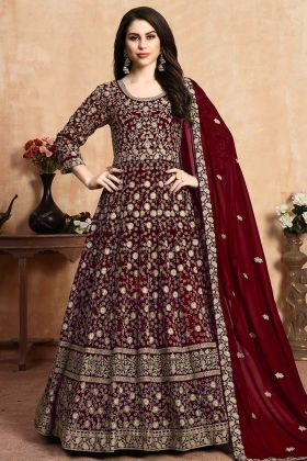 Heavy Embroidered Georgette Anarkali Dress In Maroon