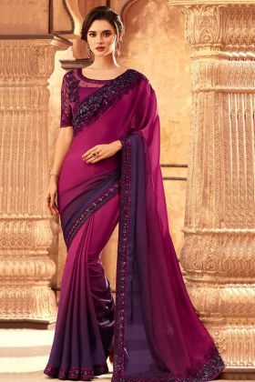 Heavy Embroidered Milano Silk New Saree Collection