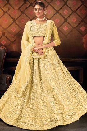 Heavy Embroidered Net Wedding Yellow Lehenga Choli For Haldi