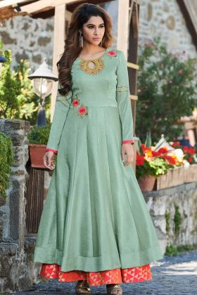 Heavy Embroidered Party Wear Gown In Sea Green