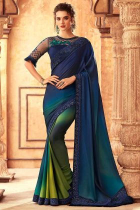Heavy Embroidered Saree Design With Rainbow Silk