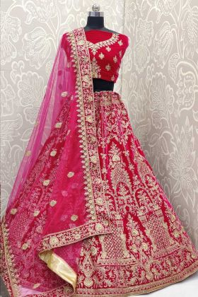 Heavy Embroidered Velvet Rani Pink Wedding Lehenga Choli